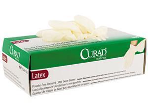 Curad CUR8106 Powder-Free Latex Exam Gloves, Large, 100/Box