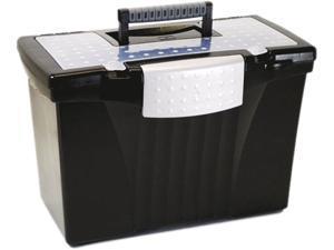 Storex 61510U01C Portable File Storage Box w/Organizer Lid, Letter/Legal, Black