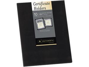 Southworth PF18 Certificate Holder, 12 x 9-1/2, Black, 10/Pack