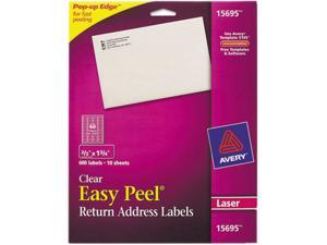 """Avery Matte Clear Return Address Labels, Sure Feed Technology, Laser, 0.67"""" x 1.75"""", 600 Labels (15695)"""