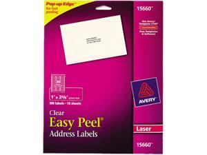 Clear Easy Peel Mailing Labels Laser 1 x 2 5/8 300/Pack
