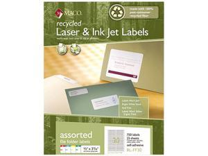 Maco RL-FF30 Recycled Laser and InkJet Labels, 2/3 x 3 7/16, Assorted, 750/Pack
