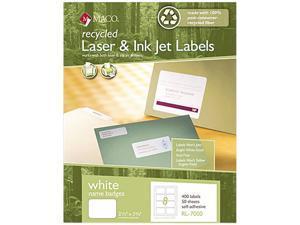 Maco RL-7000 Recycled Name Badge Labels, 3-3/8 x 2-1/3, White, 400/Box