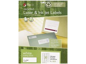 Maco RL-3025 Recycled Laser and InkJet Labels, 1 x 2-5/8, White, 750/Box