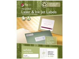 Maco RL-2000 Recycled Laser and InkJet Labels, 1 x 4, White, 2000/Box