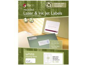 Maco RL-1000 Recycled Laser and InkJet Labels, 2 x 4, White, 1000/Box