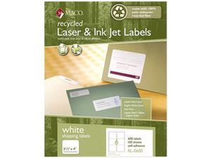 Maco RL-0600 Recycled Laser and InkJet Labels, 3-1/3 x 4, White, 600/Box