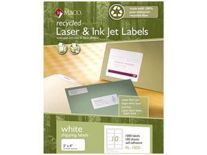 Maco RL-0100 Recycled Laser and InkJet Labels, 8-1/2 x 11, White, 100/Box