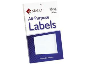 Maco MS-2448 Multipurpose Self-Adhesive Removable Labels, 1 1/2 x 3, White, 160/Pack