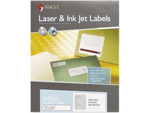 Maco MLFF31 File Folder Labels, 2/3 x 3-7/16, White, 1500/Box