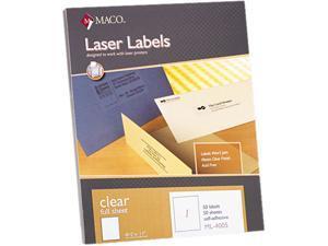 Maco ML-4005 Matte Clear Laser Labels, 8-1/2 x 11, 50/Box