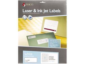 Maco ML3025 White All-Purpose Labels, 1 x 2-5/8, 750/Box
