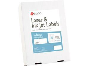 Maco ML-3000B White All-Purpose Labels, 1 x 2-5/8, 7500/Box