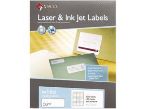 Maco ML-3000 White All-Purpose Labels, 1 x 2-5/8, 3000/Box