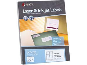 Maco ML-0600 White All-Purpose Labels, 3 1/3 x 4, 600/Box