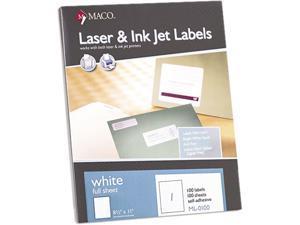 Maco ML0100 White All-Purpose Labels, 8 1/2 x 11, 100/Box
