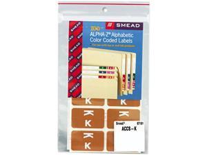 Smead 67181 Alpha-Z Color-Coded Second Letter Labels, Letter K, Light Brown, 100/Pack