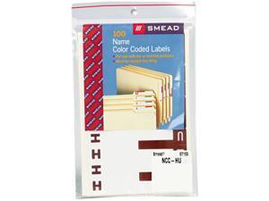 Smead 67159 Alpha-Z Color-Coded First Letter Name Labels, H & U, Dark Brown, 100/Pack