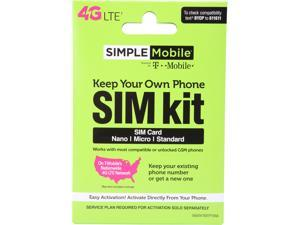 SIMPLE Mobile BYOP SIM Kit, SIM Card Sizes Include Standard, Nano, and Micro
