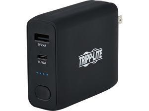 Tripp Lite Black 5000 mAh Portable 2-Port Mobile Power Bank and USB Battery Wall Charger Combo - Direct Plug UPBW-05K0-1A1C
