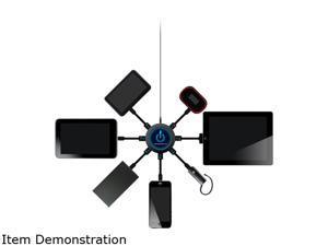 ChargeHub CRGRDSVP-001 Black 7-Port USB Universal Charging Station - Super Value Pack, Round