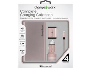Chargeworx Metallic Mobile Charging Kit for iPhone w/ Power Bank, MFi Certified Braided Lightning Cable, Duo USB Car Charger and Wall Charger, Rose Gold