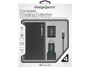 Chargeworx Metallic Mobile Charging Kit for iPhone w/ Power Bank, MFi Certified Braided Lightning Cable, Duo USB Car Charger and Wall Charger, Black