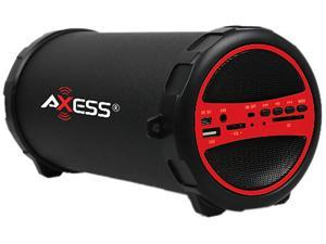 """Axess SPBT1031-RD Portable Bluetooth Hi-Fi Cylinder Loud Speaker with SD Card, USB, AUX And FM Inputs, 3"""" Sub"""