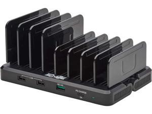 Tripp Lite U280-008-CQC-ST Black 8-Port USB Smart Charging Station - USB-A Quick Charge 3.0, USB-A BC 1.2, USB-C PD Charging, 120W