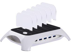 Trexonic TRX-USB5100W White 12A 5-Port USB Charging Station with Dividers