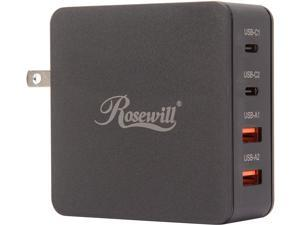 USB C Charger, Rosewill 66W 4-Port Dual QC3.0 and Dual USB-C Wall Charger with Power Delivery, Compatible for MacBook Pro/Air, iPad Pro, iPhone XR/XS/Max/8, Google Pixel, Samsung S9/Note 8, Nintendo S