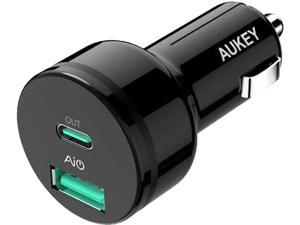 Aukey CC-Y7 Black USB-A + USB-C 39W PD Car Charger