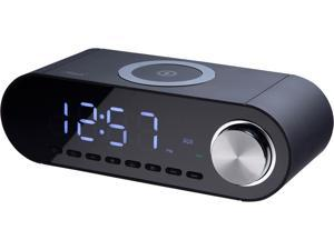 Rosewill Rechargeable Bluetooth Speaker with 10W Wireless Charging Dock, Alarm Clock, and FM Radio, USB Port, (RBWS-20015)