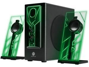 GOgroove BassPULSE Computer Speakers Stereo Sound System with Green LED Glow Lights and Dual Drivers