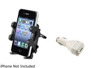 Insten Car Vent Mount Stand + White Charger Kit For iPhone 5 / 5s / 5c / 4 / 4s / 3Gs 907218