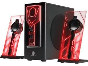 GOgroove BassPULSE 2.1 Computer Speakers with Red LED Glow Lights and Powered Subwoofer - Gaming Speaker System for Music on Desktop, Laptop, PC with 40 Watts, Heavy Bass