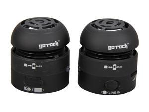 Go Rock Black Portable Mini Stereo Speaker with Retractable Cable for iPhone / iPod / iPad TRMS02S-BK