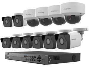 LaView 4MP 2688 x 1520P Full PoE IP Camera Security System, 16-channel H.265 NVR w/ 4K Output, 8 x 4MP Bullet and 4 x 4MP Dome Full HD In / Outdoor IP Cameras (No HDD Included, Sold Separately)