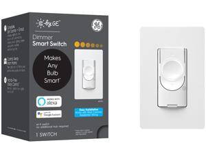 C by GE 3-Wire Smart Switch Dimmer, White - Wi-Fi, Works with Alexa and Google Assistant Without a Hub, No Neutral Wire Required, Single-Pole/3-Way Replacement