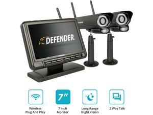 """Defender PHOENIXM2 Non Wi-Fi. Plug-In. Security Camera System with 7"""" Display Monitor and 2 Night Vision Cameras with SD Card Recording"""
