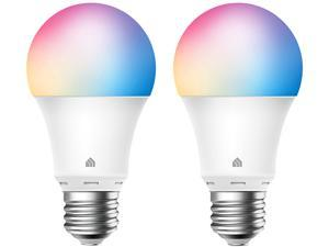 Kasa Smart Light Bulbs, Full Color Changing Dimmable Smart WiFi Bulbs Works with Alexa and Google Home, A19, 9W 800 Lumens,2.4Ghz only, No Hub Required, 2-Pack (KL125P2), multicolor