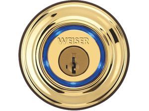 WEISER Kevo Smart Door Lock Touch-to-Open Bluetooth Smart Lock Deadbolt Compatible with Apple iPhone 4S or higher and Android 5.0 (Lollipop) or higher - Polished Brass - 9GED15000-001