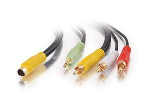 C2G 27992 Value Series Bi-Directional S-Video + 3.5mm Audio to RCA Audio/Video Cable, Black (12 Feet, 3.65 Meters)