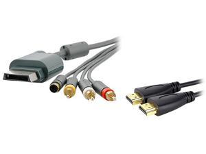 Insten Model 1647382 6 ft. 1X AV Composite and S-Video Cable compatible with Microsoft Xbox 360 / Xbox 360 Slim