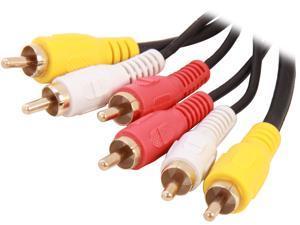 BYTECC Model PV2A-6 6 ft. AV Cable - GOLD Plated,Black Jacket