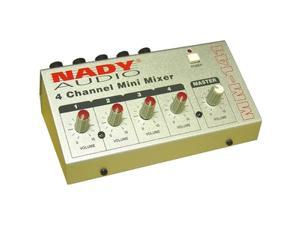"""Nady MM-141 Four Channel Mini Mixer - Four mono 1/4"""" inputs with individual volume, can be powered with a 9V battery"""