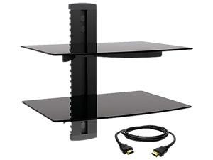 Megamounts DVD302-HDMI-BNDL Tempered Glass Double Shelf Wall Mount with HDMI
