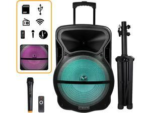 Trexonic TRX-15D Combination 15 Inch Bluetooth Portable Speaker and Tripod Stand