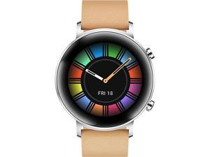 HUAWEI Watch GT 2 Classic 42mm Gravel Beige, 1-week Battery, Leather Strap, up to 500 Song Storage, GPS (Canada Warranty)