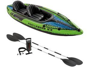 Intex Challenger K2 2-Person Inflatable Sporty Kayak + Oars And Pump   68306EP